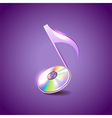 Music note like compact disc background vector image vector image
