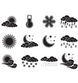 Night day weather colour icons set black isolated vector image