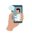 online doctor in your hand phone consultation vector image vector image