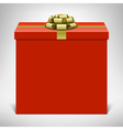 Red gift box with golden ribbon vector image vector image