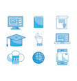set elearning education technology to certificate vector image