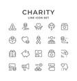 set line icons of charity vector image