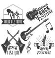set rock festival labels in vintage vector image vector image