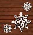 Set snowflakes on wooden background vector image