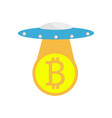 the ufo with bitcoin vector image vector image