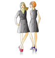 two fashion beautiful girls vector image vector image