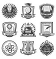 vintage monochrome educational labels set vector image vector image