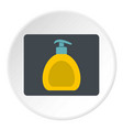 yellow liquid soap bottle icon circle vector image vector image