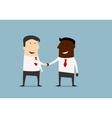 Black and caucasian businessmen handshake vector image