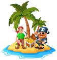 Pirate in the treasure island vector image