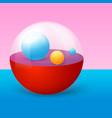 3d realistic transparent half cut ball vector image