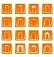 arch set icons set orange vector image vector image