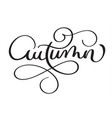 autumn word on white background hand drawn vector image vector image