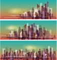 banner night cityscape vector image vector image