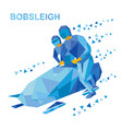 bobsleigh cartoon athletes running near bobsled vector image vector image