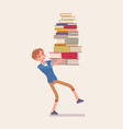 boy holding a pile of books vector image vector image