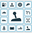 car icons set with gear lever tie electric car vector image