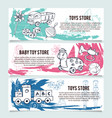 Children toys store banners or website header set vector image