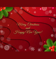 christmas postcard with holly berry red background vector image vector image