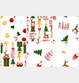 colorful pixel pattern set with christmas elements vector image
