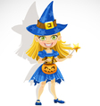 cute little girl dressed as a witch Trick or Treat vector image vector image