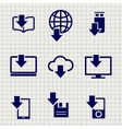 Different devices downloading data sketch icons vector image vector image