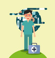 doctor in glasses with kit medical hospital work vector image vector image