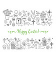 easter greeting card with easter doodles on white vector image