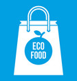 eco food bag icon white vector image vector image