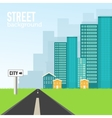 Flat colorful sity buildings set Icons background vector image vector image