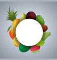 frame circular with fresh fruits vector image vector image