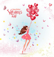 happy young woman with red heart air balloons vector image vector image