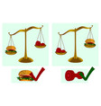 healthy lifestyle dumbbell hamburger scales vector image vector image