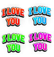 i love you colored text in capitals vector image