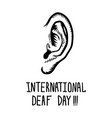 international deaf day concept background hand vector image