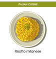 italian cuisine risotto milanese rice icon vector image vector image