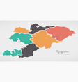 kyrgyzstan map with states and modern round shapes vector image vector image