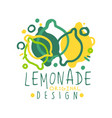 lemonade original design logo natural healthy vector image vector image