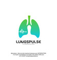 lungs pulse logo designs concept health lungs vector image