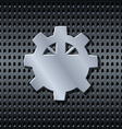 Metal gear label on the grid vector image vector image