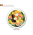 moules frites a national dish of belgium vector image vector image
