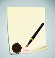 of hand-draw lettering on the paper with wax stamp vector image