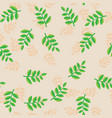 pattern plant branches with green leaves on beige vector image