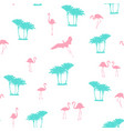pink flamingo blue palm trees seamless pattern vector image vector image