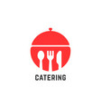 red catering service logo isolated on white vector image vector image