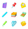 school stationery icons set cartoon style vector image vector image