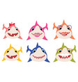 set cartoon shark family collection of vector image