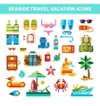 set flat design seaside travel vacation icons vector image vector image
