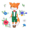 Set fox flowers hand drawing
