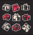 set gift boxes icon with bow and ribbon on vector image